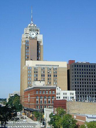 Boji Tower - Boji Tower as seen looking west over Allegan Street