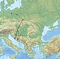 Migration of early medieval Croats according to craniometric studies.jpg