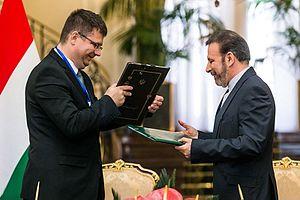 Miklós Seszták - Seszták with Iranian ICT minister Mahmoud Vaezi in Tehran in November 2015