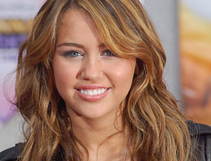Miley Cyrus at the premiere for Hannah Montana...