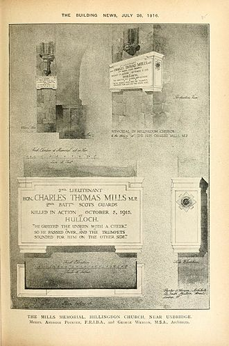 Charles Thomas Mills - Architectural plans for the Mills memorial by Ambrose Macdonald Poynter and George Wenyon from The Building News 26 July 1916