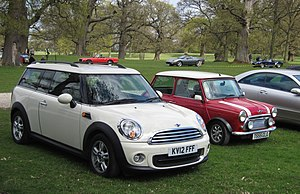 Mini Clubman 1598cc reg May 2012 with an earlier Mini iteration by its side.JPG