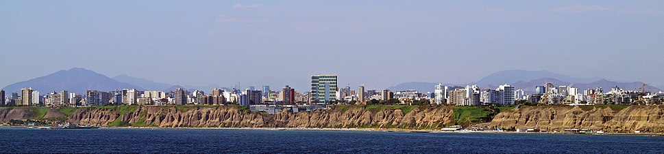 Overview of Costa Verde and the Pacific Ocean, Miraflores district.