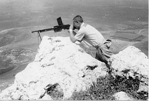 FM 24/29 light machine gun - Yiftach Brigade outpost at Kibbutz Misgav Am on the Lebanese border. 1948