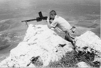 FM 24/29 light machine gun - Yiftach Brigade outpost at Kibbutz Misgav Am on the Lebanese border. 1948