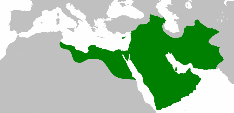 The Rashidun Caliphate reached its greatest extent under Caliph Uthman, in 654.