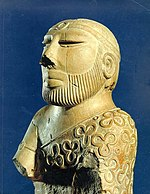 "An artifact known as the ""Priest-King,"" unearthed at Mohenjo-daro."
