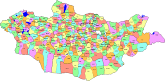 Districts of Mongolia - Districts map of Mongolia