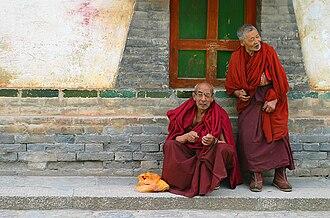 Kumbum Monastery - Bhikṣus at Kumbum Monastery