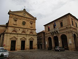 Church of San Michele Arcangelo and town hall.