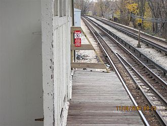 Morse station - The southbound railing was replaced during the investigation.