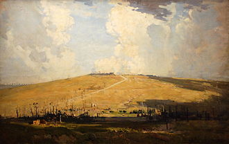 Battle of Mont Saint-Quentin - Mount St Quentin painting by Arthur Streeton (1918)