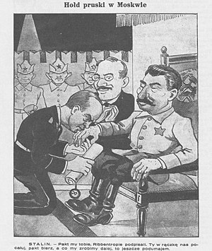 "Molotov–Ribbentrop Pact - ""The Prussian Tribute in Moscow"" in the Polish satirical newspaper Mucha of September 8, 1939."