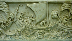 Geography of Asia - Ancient ships in trouble on the sea.