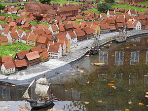 Gammel Strand - The original beach as reconstructed in the miniature town in front of Museum of Copenhagen