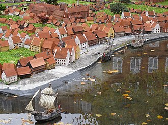 Gammel Strand - The original shoreline as reconstructed in the miniature town in front of Museum of Copenhagen