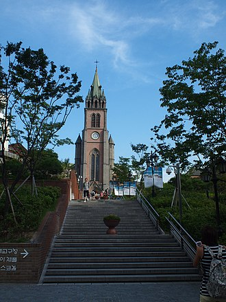 Myeong-dong - The Myeongdong Cathedral, a popular tourist attraction towards the end of the shopping district.