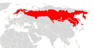 Grey red-backed vole - Image: Myodes rufocanus range map
