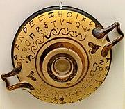 Aρχαίο Ελληνικό αλφάβητο. Εθνικό Αρχαιολογικό Μουσείο, Αθήνα