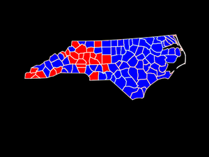 North Carolina gubernatorial election, 1996 - Image: NC Governor Election County Map 1996