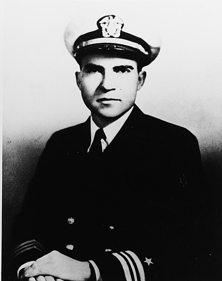 Lieutenant Commander Richard Nixon, United States Navy (circa 1945) NH 84098 Lieutenant Commander Richard Milhous Nixon, USN.jpeg