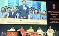 Narendra Modi interacting with school children through video conferencing, on eve of the Teachers' Day, at Manekshaw Centre, in New Delhi. The Union Minister for Human Resource Development, Smt. Smriti Irani.jpg