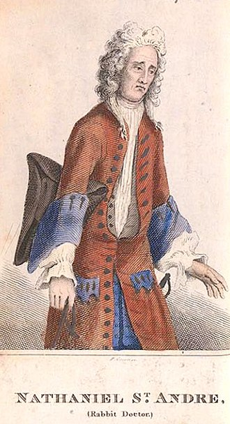 Mary Toft - A coloured engraving of Nathaniel St. André