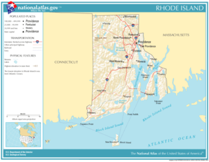 Map of Rhode Island, showing major cities and roads
