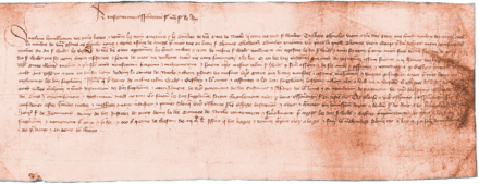 Scan of a 1411 petition from the citizens of Lincoln to the King