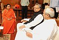 Naveen Patnaik and the Chief Minister of Chhattisgarh, Dr. Raman Singh calling the Union Minister for Water Resources, River Development and Ganga Rejuvenation, Sushri Uma Bharti, in New Delhi.jpg