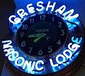 Neon detail, Gresham Masonic Lodge clock (cropped).jpg