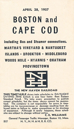 CapeFlyer - NH schedule for Boston-Cape Cod service from April 1957, two years before the end of previous regular service