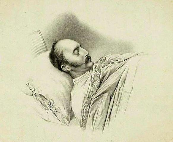 Николай I на смертном одре. Рисунок Владимира Гау.