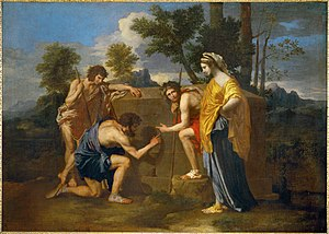 "Arcadia (play) - Et in Arcadia ego is most known as the title of this painting by Nicolas Poussin, also known as Les bergers d'Arcadie (""The Arcadian Shepherds"")"