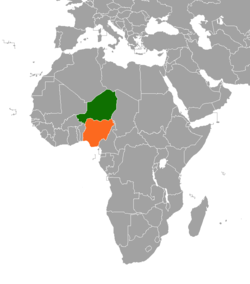 Map indicating locations of Nigeria and Niger