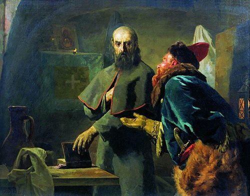 Malyuta Skuratov approaching Metropolitan Philip in order to kill him (painting by Nikolai Nevrev, 1898). Nikolaj Wassiljewitsch Newrew - Philip II, Metropolitan of Moscow and Malyuta Skuratov.jpg