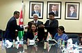 Nirmala Sitharaman and the Minister of Industry, Trade & Supply, Jordan, Ms. Maha Ali signing the agreed minutes of the 9th session of the Joint Committee Meeting(JCM), at Jordan on March 30, 2015.jpg