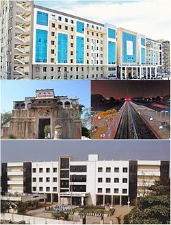 Clockwise from top : District Government Hospital, Nizamabad Junction Railway Station, District Court and Nizamabad Fort