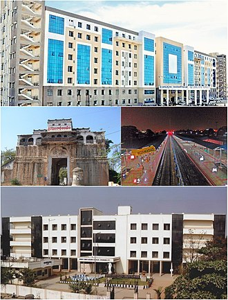 Nizamabad, Telangana - Clockwise from top : District Government Hospital, Nizamabad Junction Railway Station, District Court and Nizamabad Fort