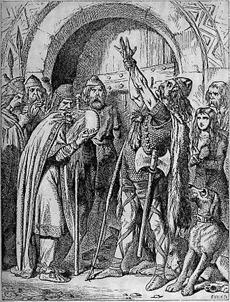 Barzaz Breiz - Nominoe's Vow, an illustration to the English translation of Barzaz Breiz, depicting the early Breton leader Nominoe vowing vengeance on the Franks for killing a Breton emissary