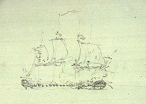 Action of 18 June 1793 - Nymphe and Cleopatre, sketch, Nicholas Pocock, c. 1793