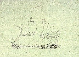 HMS Nymphe (1780) - Image: Nymphe & cleopatre sketch Pocock