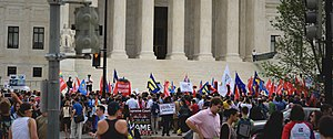Same-sex marriage in the United States - The crowd assembled in front of the Supreme Court shortly before same-sex marriage bans were struck down nationwide in Obergefell v. Hodges.