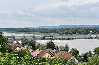 Egglfing-Obernberg Hydropower Plant Dam in Bavaria, Germany and Upper Austria, Austria