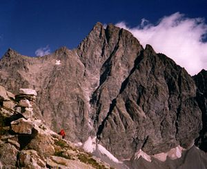 Olan (mountain) - The north-west face of the Olan, showing the north (left) and central summit.