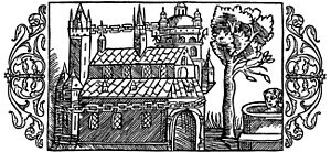 Temple at Uppsala - A woodcut depicting the Temple at Uppsala as described by Adam of Bremen, including the golden chain around the temple, the well and the tree, from Olaus Magnus' Historia de Gentibus Septentrionalibus (1555).