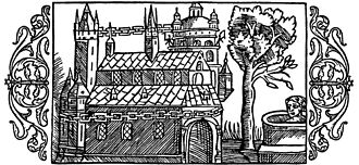 Heathen hof - A woodcut depicting the Temple at Uppsala as described by Adam of Bremen, including the golden chain around the temple, the well and the tree, from Olaus Magnus' Historia de Gentibus Septentrionalibus (1555).