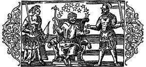 "1555 in Sweden - ""On the three Main Gods of the Geats."" From left to right; Frigg, Thor and Odin."
