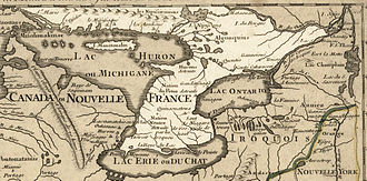 Ontario - Lower Ontario in 1718, Guillaume de L'Isle map, approximate province area highlighted.