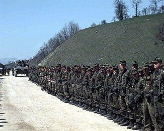 Ski cap - Image: Opening Ceremony of the Visoko Bridge in Bosnia 1996